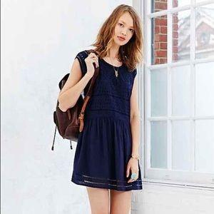 Urban Outfitters Blue Eyelet Ecote Mini Dress XS